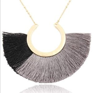 Forever 21 grey black color block tassel necklace